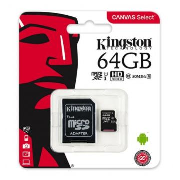 Kingston 64GB Canvas Select Micro SDXC Card with SD Adapter